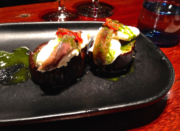 Berenjena marinada, burrata y anxoa (Marinaded aubergine/eggplant with mozarella and cream and anchovy) as served as part of the tasting menu at Goliard.