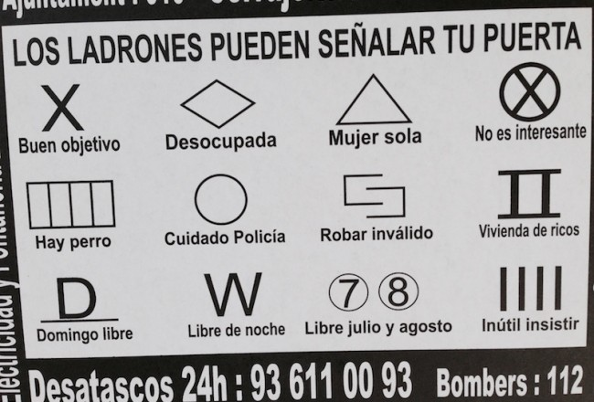 Burglars and house breakers symbols, Barcelona, 2015