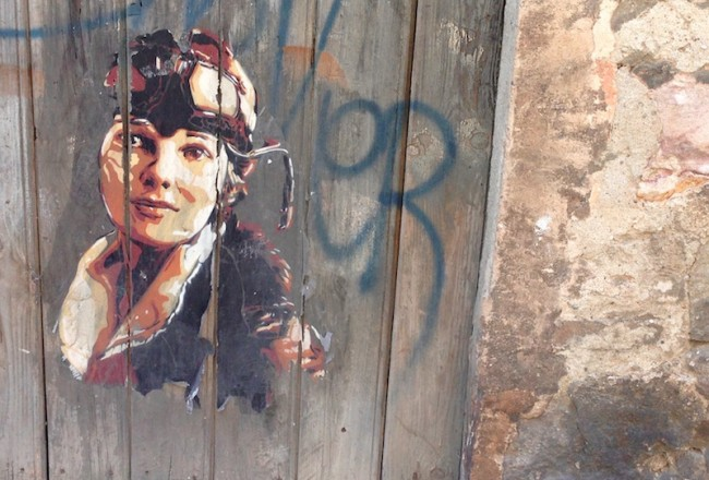 Amelia Earhart in Poble Sec, Barcelona, August 2015 by Bill Sinclair