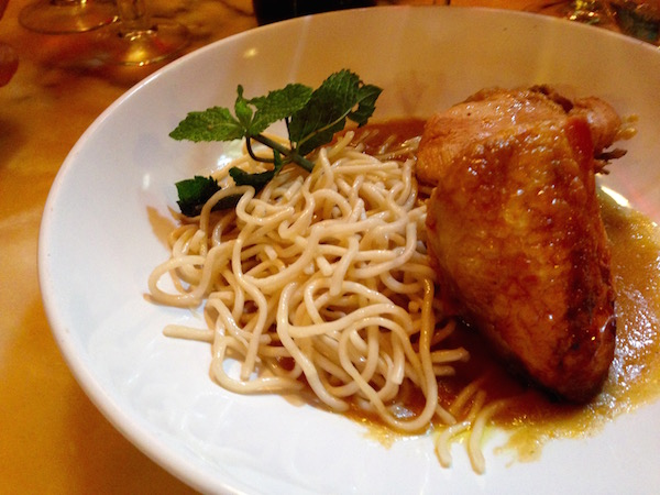 Chicken and noodles as served as a second-course as part of a menú del día at La Singular.