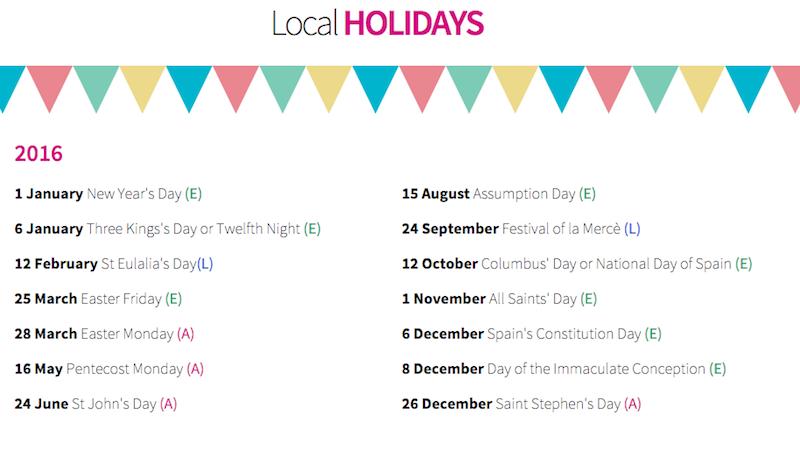 Public Holidays Barcelona 2016