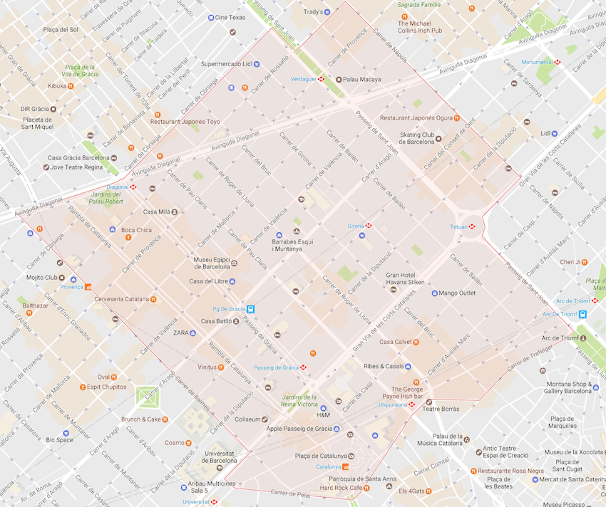 Eixample Dreta Barcelona Mapa.La Dreta De L Eixample In Barcelona