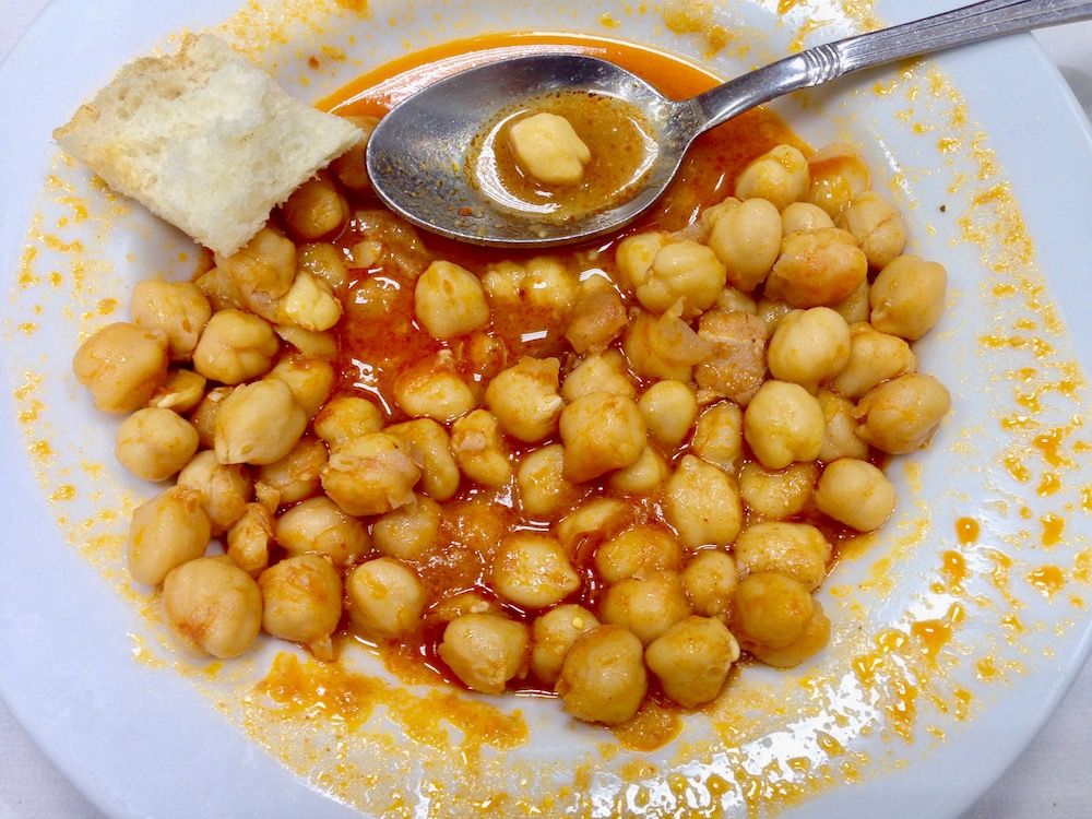Cigrons (chickpeas) as served at Bar Bodega Gelida, barcelona