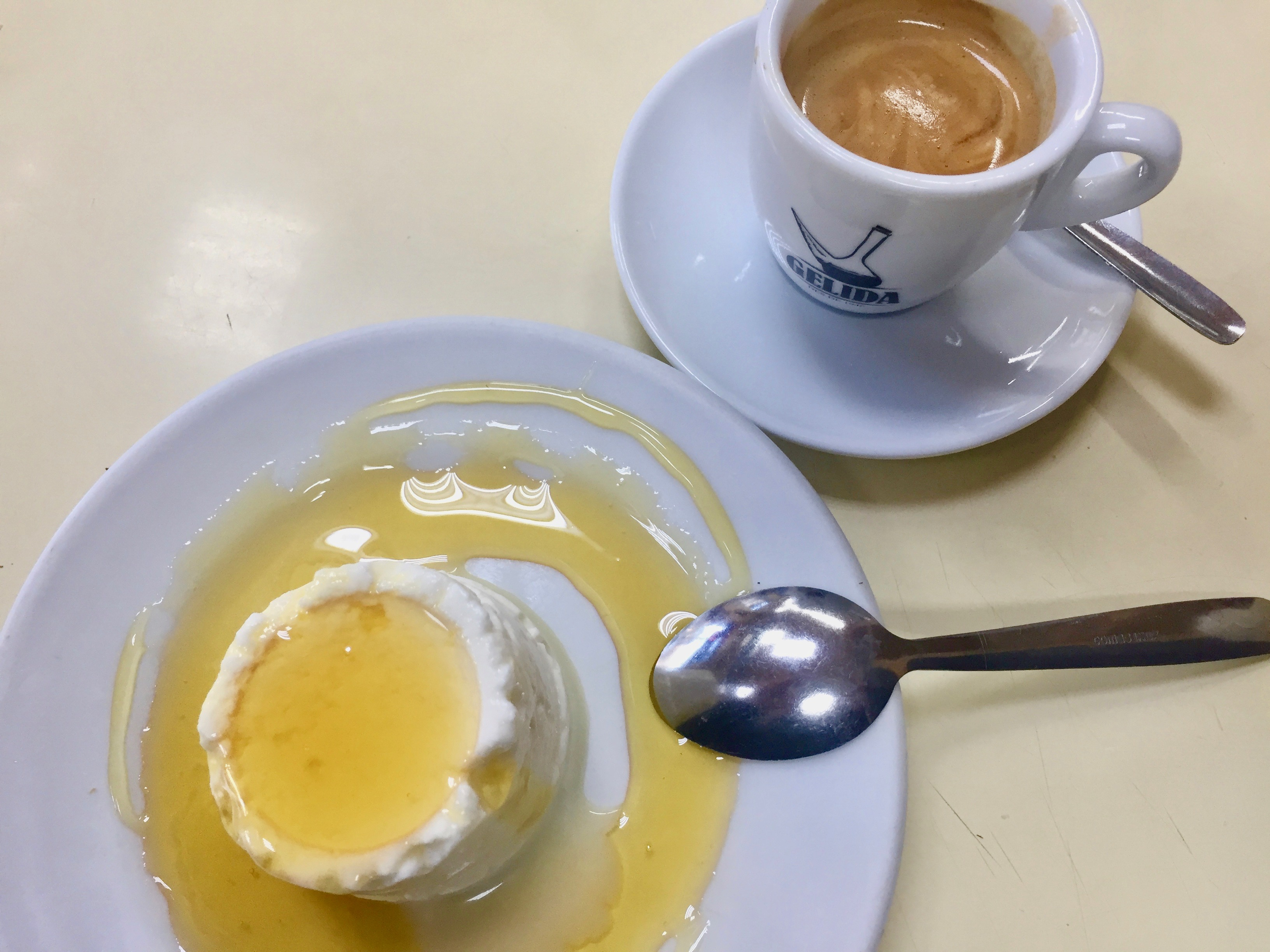 Coffee and mel i mato as served at Gelida, Barcelona
