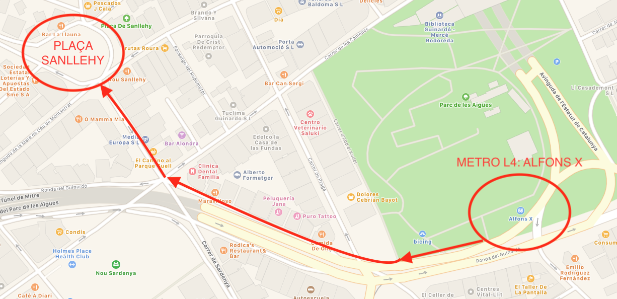 Map of route between Alfons X and Plaça Sanllehy